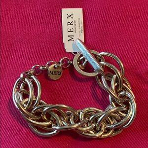 Silver toned MERX link bracelet